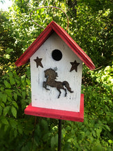 Load image into Gallery viewer, Birdhouse Rusty Horse Cut Out Stars Fully Functional