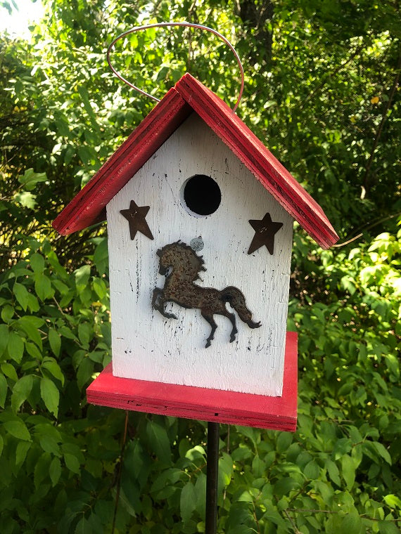 Birdhouse Rusty Horse Cut Out Stars Fully Functional