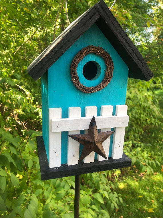 Country Birdhouse Fence Turquoise Blue Fully Functional