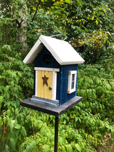 Load image into Gallery viewer, Cozy Blue Yellow Door Birdhouse Country
