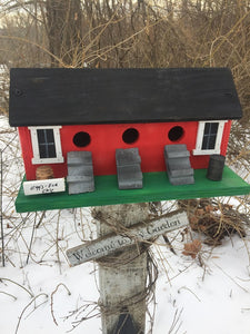 Chicken Coop Birdhouse Red Three Compartment