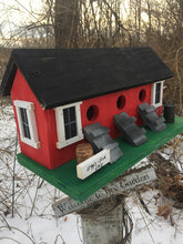 Load image into Gallery viewer, Chicken Coop Birdhouse Red Three Compartment