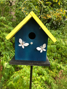 Birdhouse Rusty Butterflies Painted White Dark Blue Fully Functional