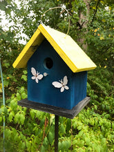 Load image into Gallery viewer, Birdhouse Rusty Butterflies Painted White Dark Blue Fully Functional