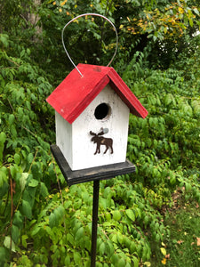 Song Bird Birdhouse Rusty Moose White Red Fully Functional Hand Crafted