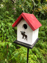 Load image into Gallery viewer, Song Bird Birdhouse Rusty Moose White Red Fully Functional Hand Crafted