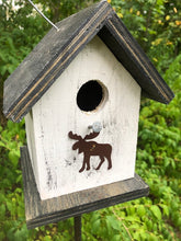 Load image into Gallery viewer, Song Bird Birdhouse Rusty Moose White Black Fully Functional Hand Crafted