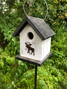 Song Bird Birdhouse Rusty Moose White Black Fully Functional Hand Crafted