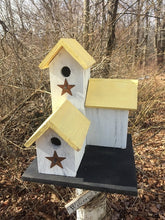 Load image into Gallery viewer, Three Nesting Box Condo Birdhouse White Yellow