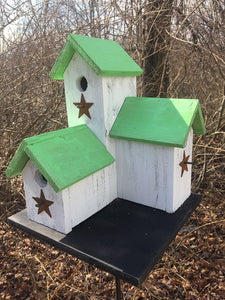 Three Nesting Box Condo Birdhouse White Lime Green