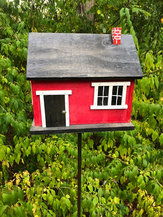 Country Cabin Red Birdhouse Picture Window Fully Functional