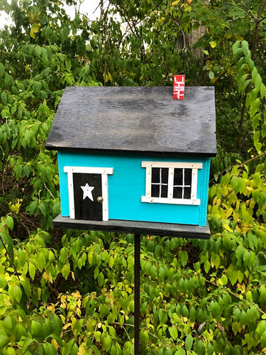 Country Cabin Turquoise Birdhouse Picture Window Fully Functional