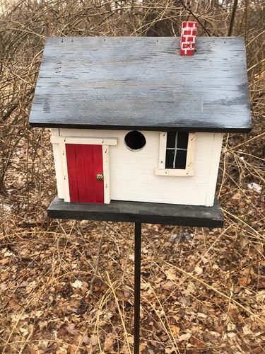 Country Cabin White Birdhouse Fully Functional
