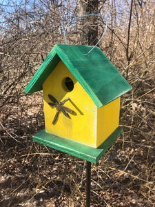 Birdhouse Rusty Dragonfly Cut Out Yellow Green Fully Functional