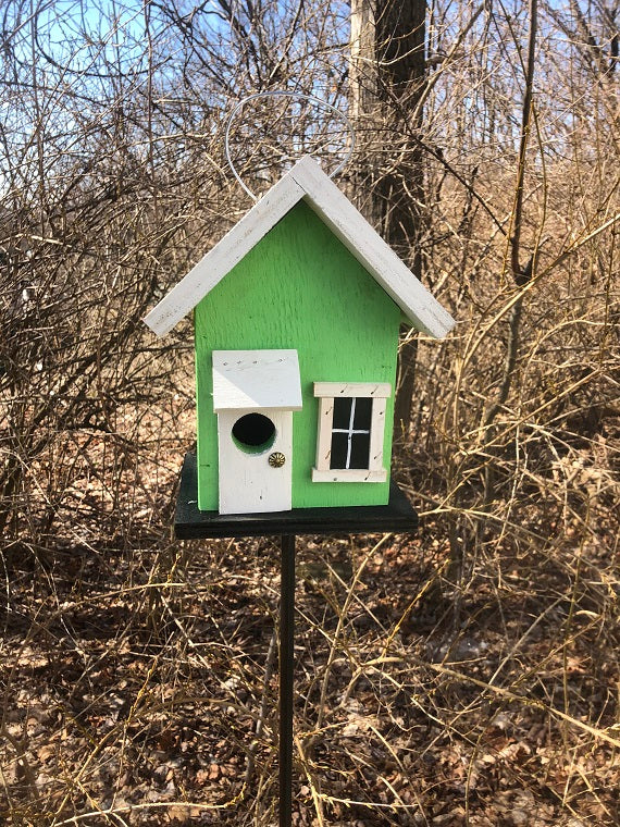 Birdhouse Lime Green White Door Fully Functional