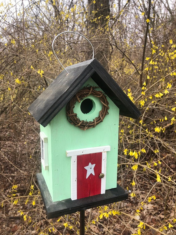 Country Birdhouse Door Citrus Green Red Fully Functional
