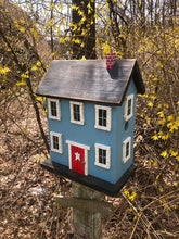 Load image into Gallery viewer, Saltbox Birdhouse Carolina Blue Fully Functional