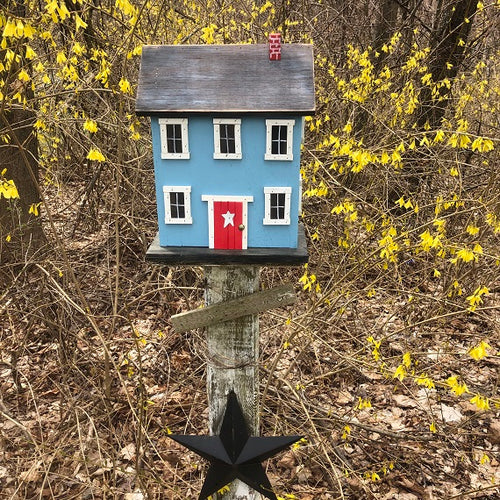 Saltbox Birdhouse Carolina Blue Fully Functional