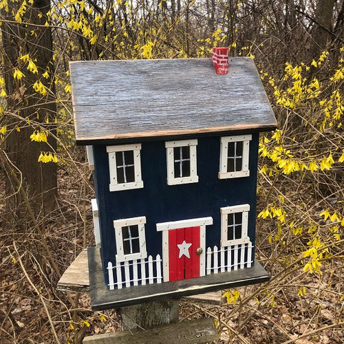 Saltbox Birdhouse Dark Blue Fully Functional