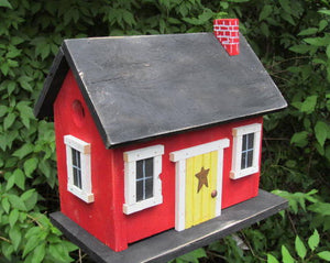 Country Cabin Red Birdhouse Fully Functional