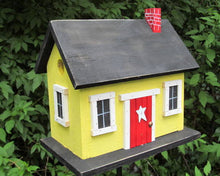 Load image into Gallery viewer, Country Cabin Yellow Birdhouse Fully Functional