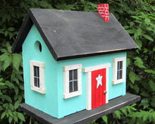 Load image into Gallery viewer, Country Cabin Turquoise Birdhouse Fully Functional