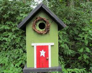 Country Birdhouse Door Green Red Fully Functional