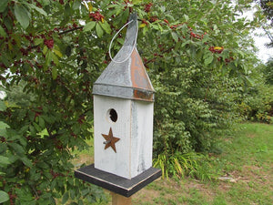Birdhouse Rusty Funnel White Primitive Star