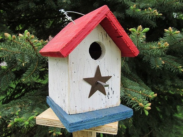 Song Bird Red White Blue Birdhouse Fully Functional Hand Crafted