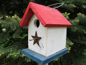 Song Bird Birdhouse Rusty Star Red White Blue Birdhouse Fully Functional Hand Crafted