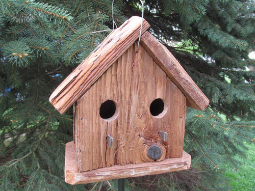 Birdhouse Cedar Rustic Primitive Two Hole