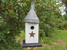 Load image into Gallery viewer, Birdhouse Rusty Funnel White Primitive Star
