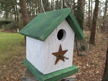 Load image into Gallery viewer, Song Bird Birdhouse Rusty Star White Green Fully Functional Hand Crafted