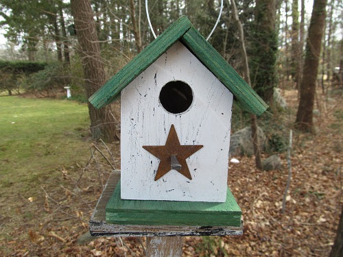 Song Bird Birdhouse White Green Fully Functional Hand Crafted