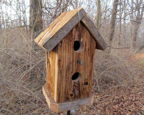 Birdhouse Cedar Rustic Primitive Tall Two Hole