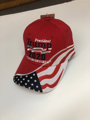 New design! Red Trump 2020 flag hat