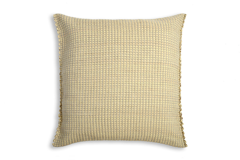Handwoven Cushion Cover AUSTĖ pearl beige leather and linen