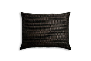 Handwoven Cushion Cover AUSTĖ choco leather and linen