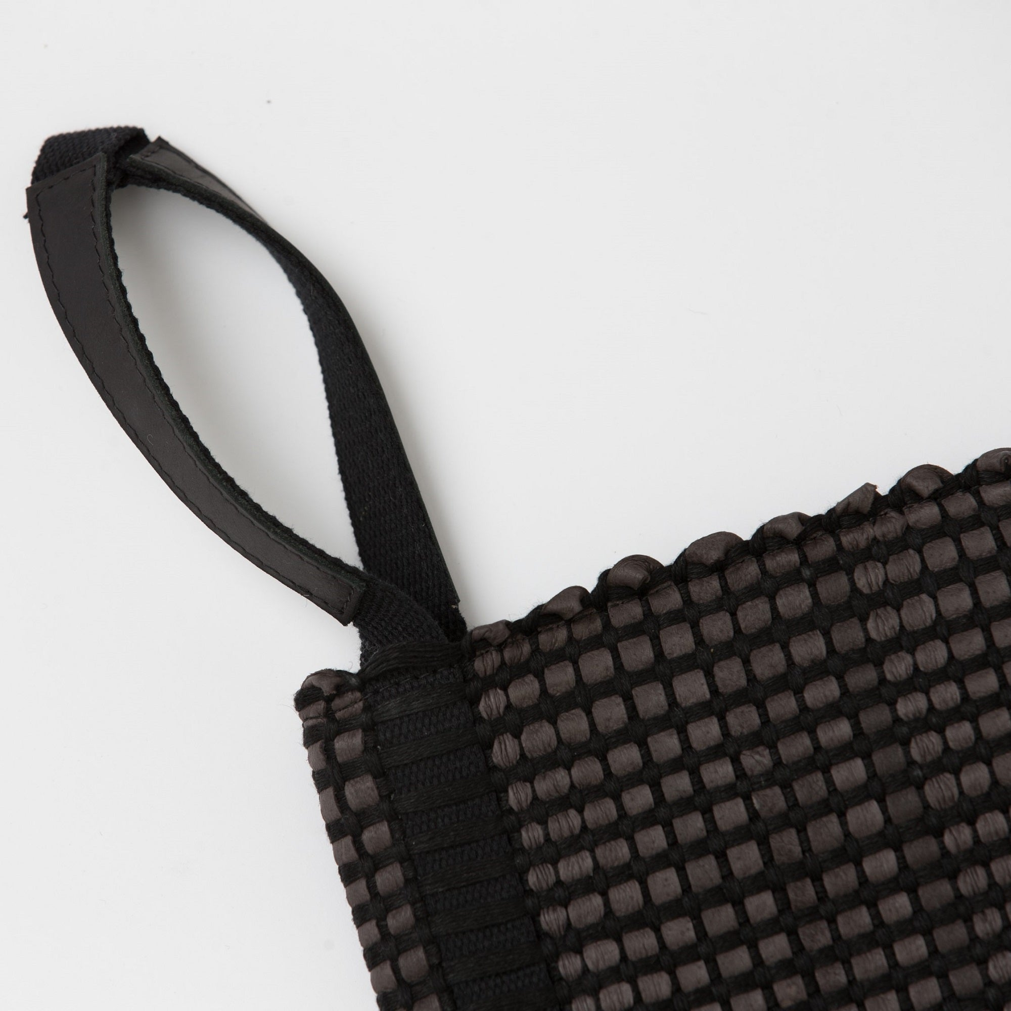 Handwoven Clutch Bag AUSTĖ #12 choco leather and linen