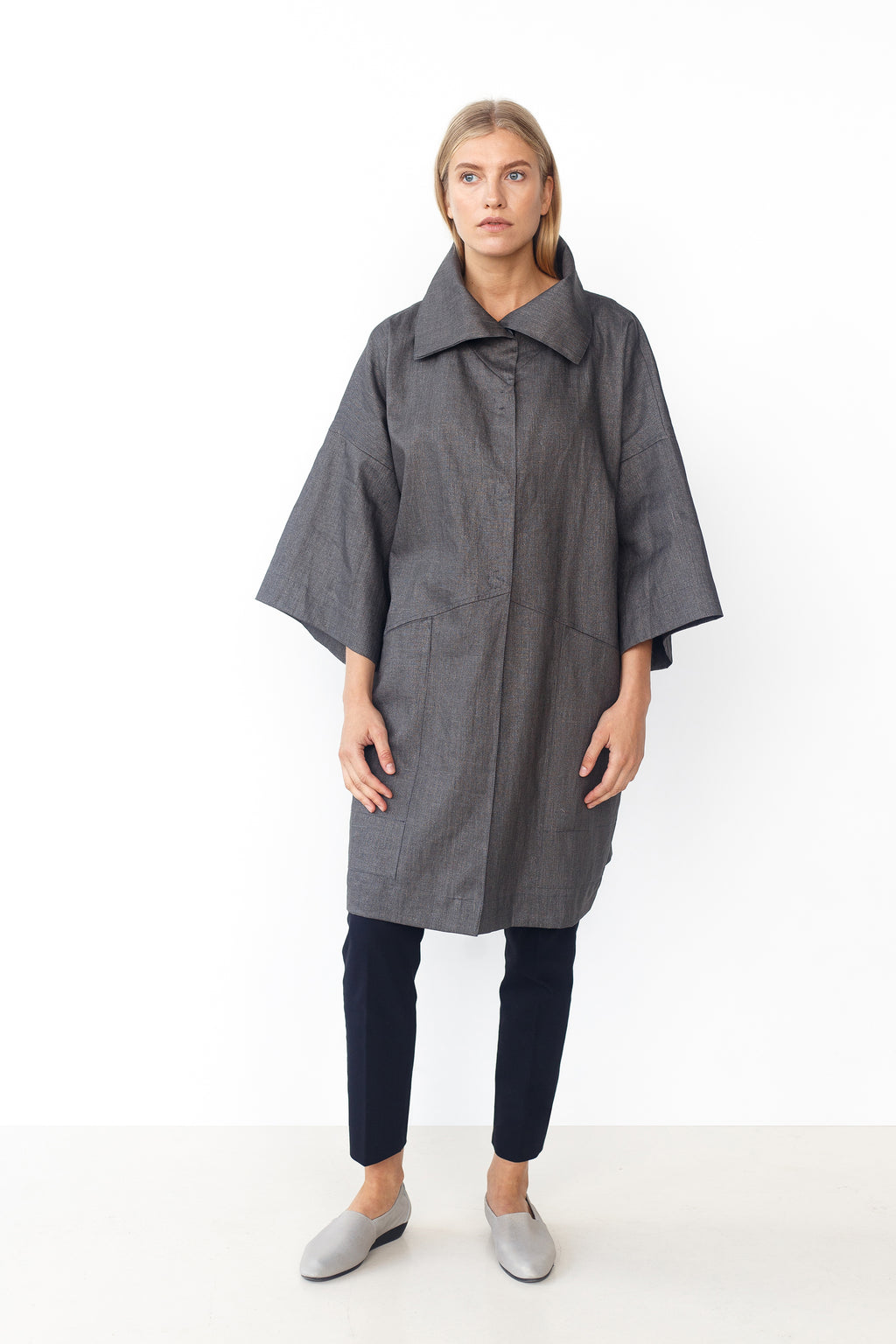 Long Coated Linen Rain Jacket LYJA graphite grey
