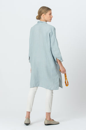 Long Linen Shirt VANDA sky blue