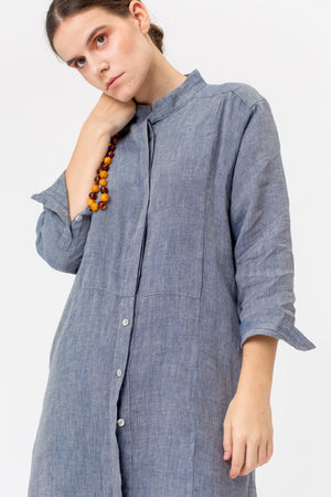 Long Linen Shirt-Tunic AIDA blue