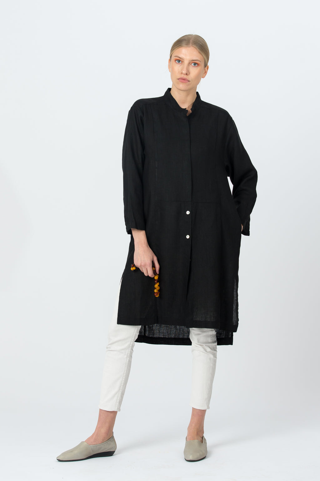 Long Linen Shirt-Tunic AIDA black