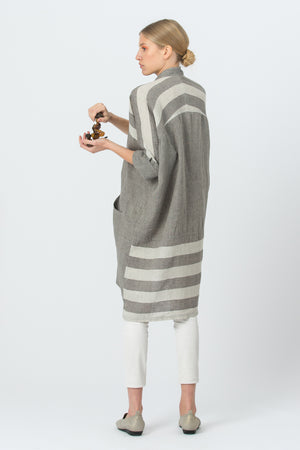 Oversized Linen Shirt AGNĖ graphite grey