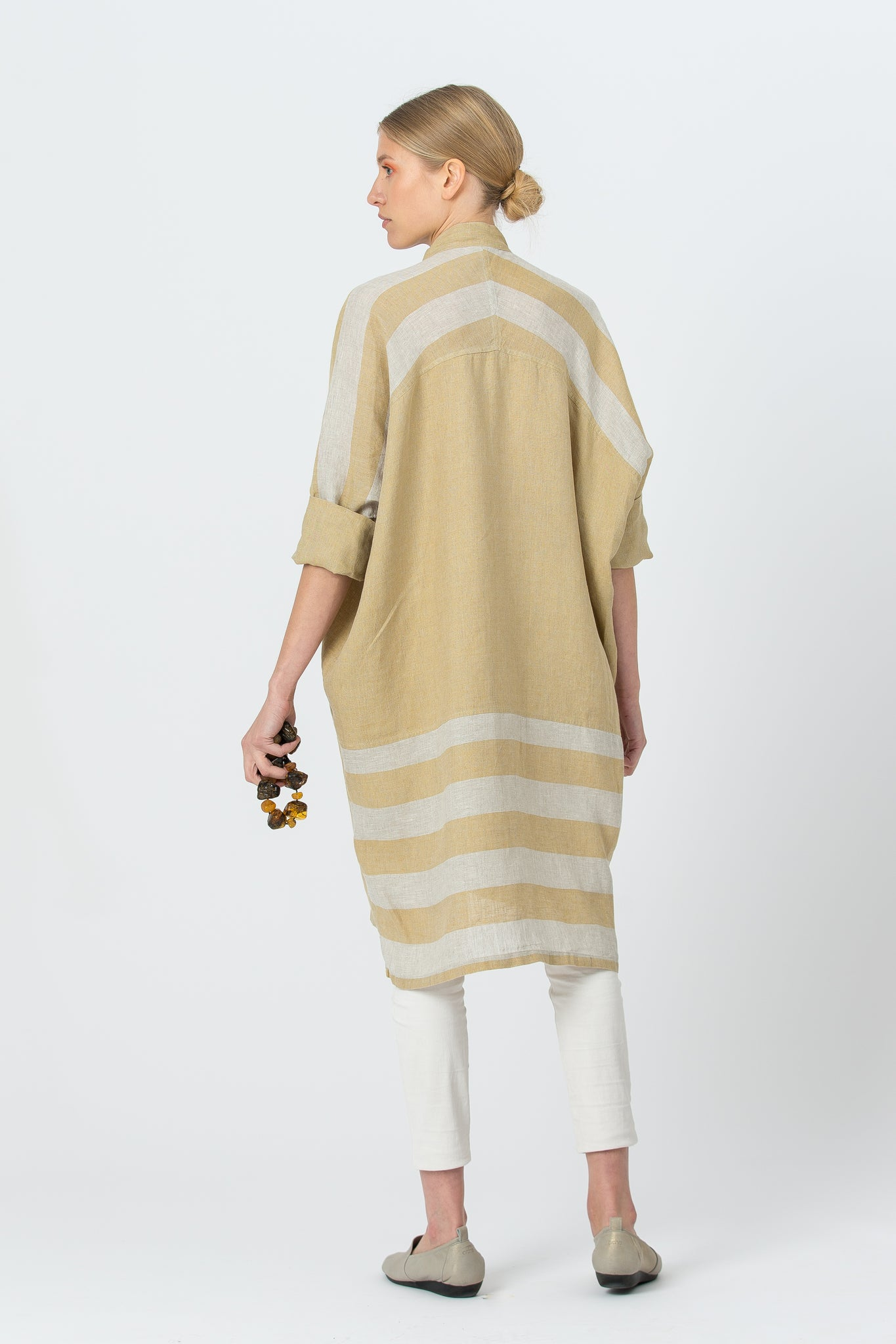 Oversized Linen Shirt AGNĖ gold yellow