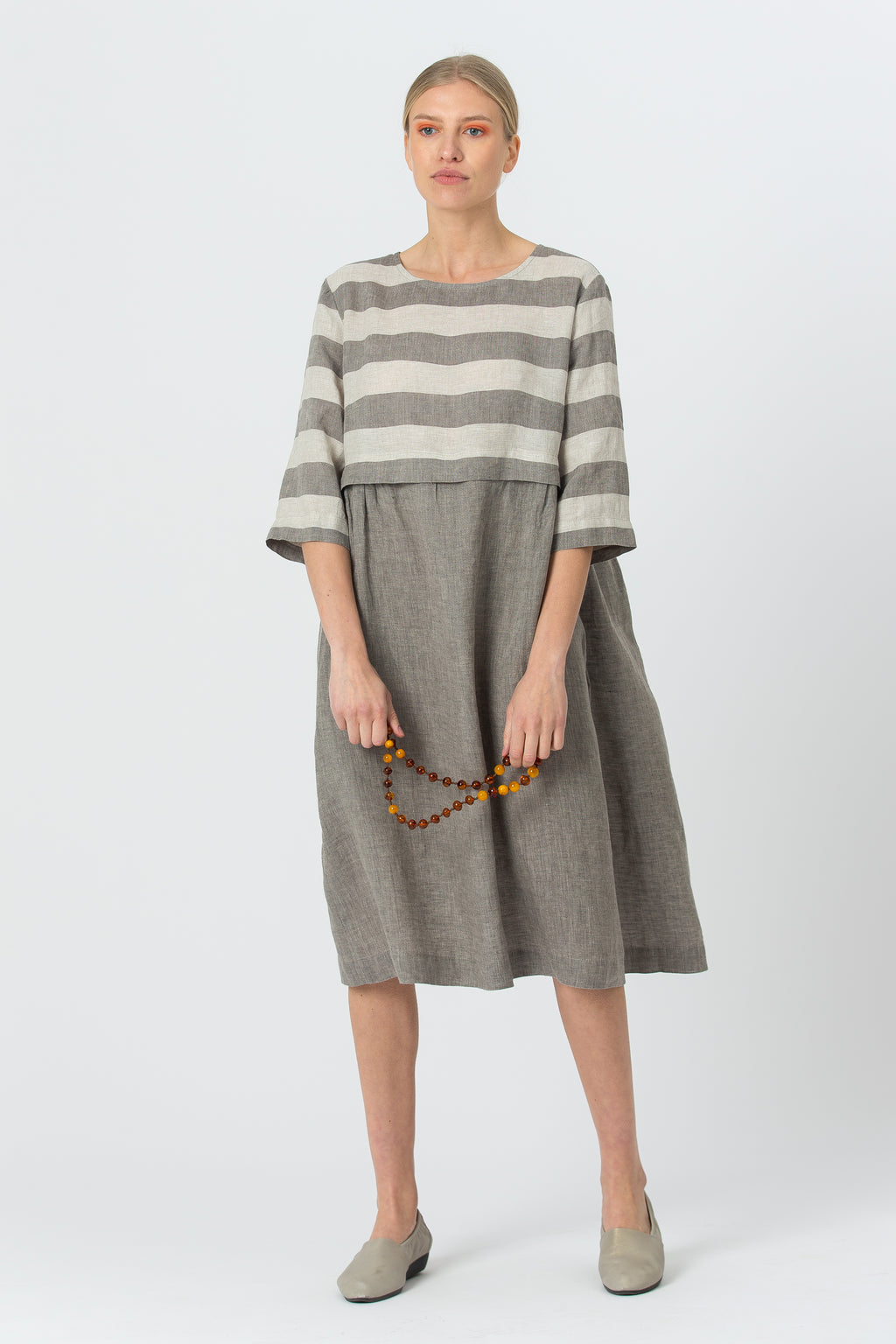 Linen Dress MORTA graphite grey