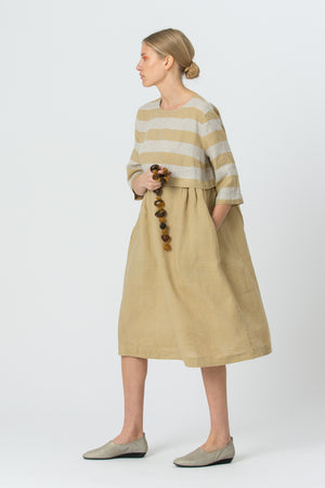 Linen Dress MORTA gold yellow