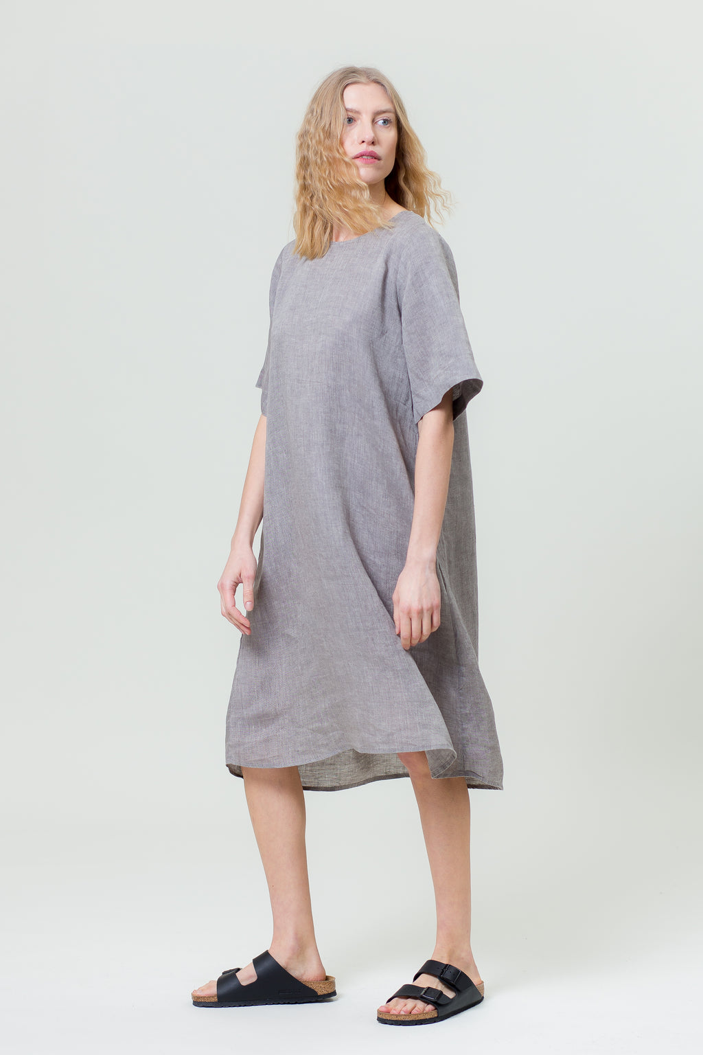 Linen Dress JŪRA graphite grey
