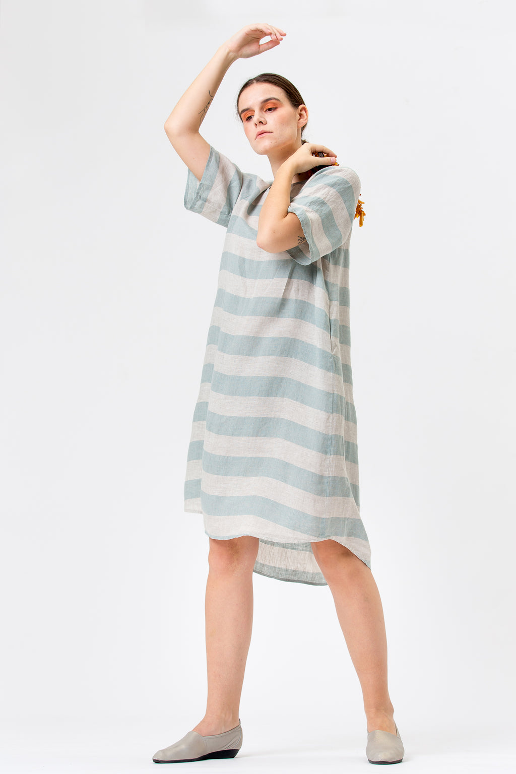 Linen Dress JŪRA mint stripes