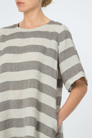 Linen Dress JŪRA grey stripes